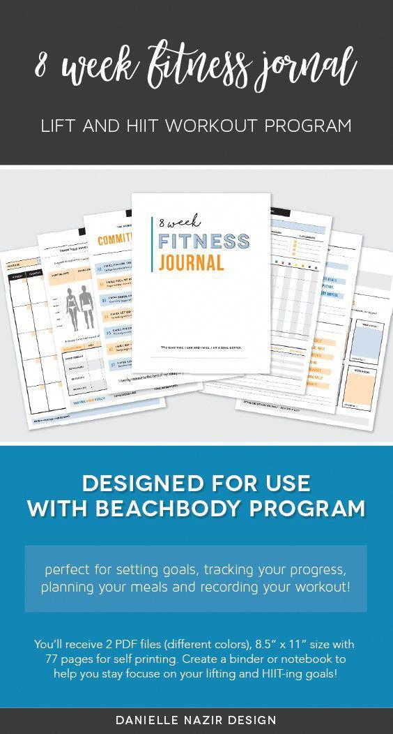Self-print 8 wk fitness planner! A great idea for use with the