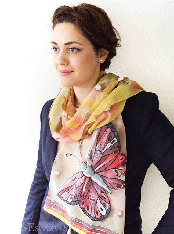 Hand painted chiffon scarf with butterflies. Warm by SEscarves