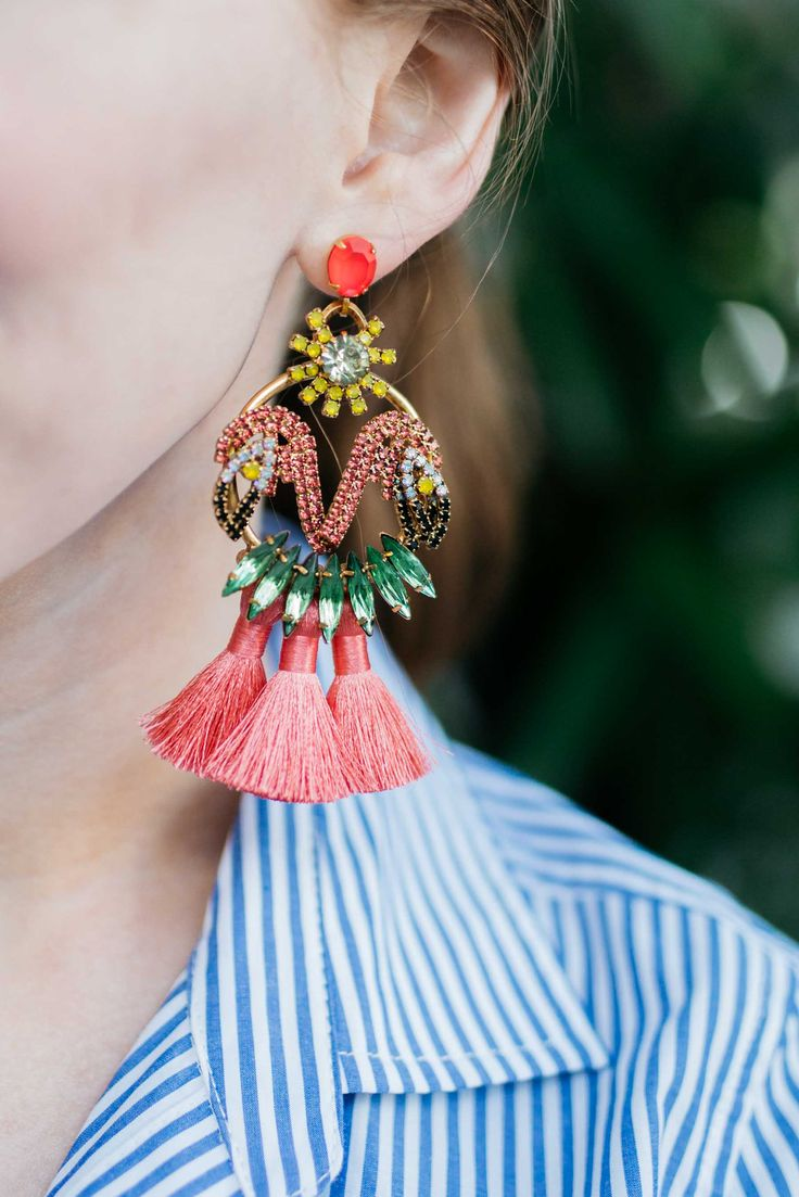 I love how these glitzy drop earrings make a major South Beach statement of their own.