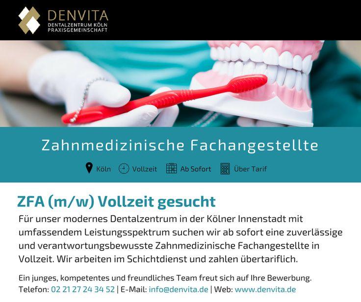 Wir suchen Zahnmedizinische Fachangestellte für unser Dentalzentrum in der Kölner Innenstadt! #Koeln #Job #Stellenangebot #Stellenausschreibung #Praxis #ZFA