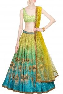 Blue and green peacock artwork ombre lehenga set with green floral bootis blouse