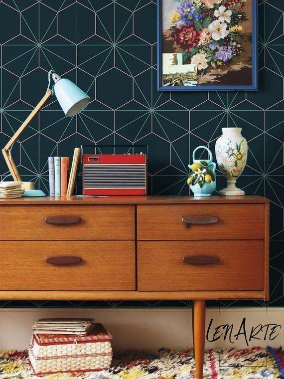 Hexagon And Triangle Wallpaper Geometric Wallpaper Easy Stick