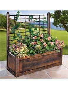 wooden planter boxes with trellis - Google Search