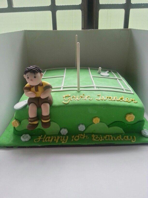 Badminton court birthday cake