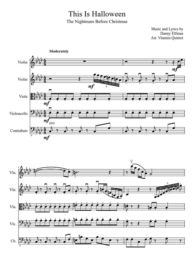 Sheet music made by angolmoa for 5 parts: Violin, Viola, Violoncello, Contrabass