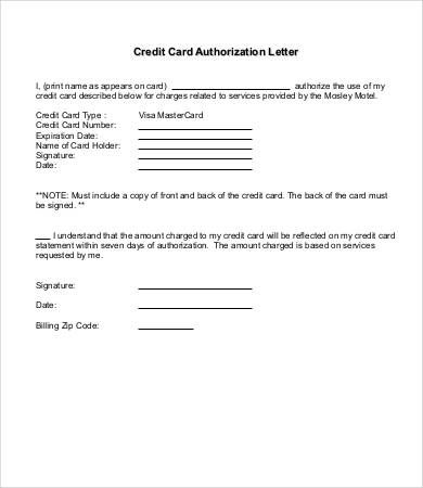 authorization letter samples free sample example format credit card
