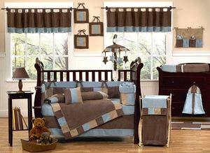 Soho Blue and Brown Crib Bedding - 9 pc Set