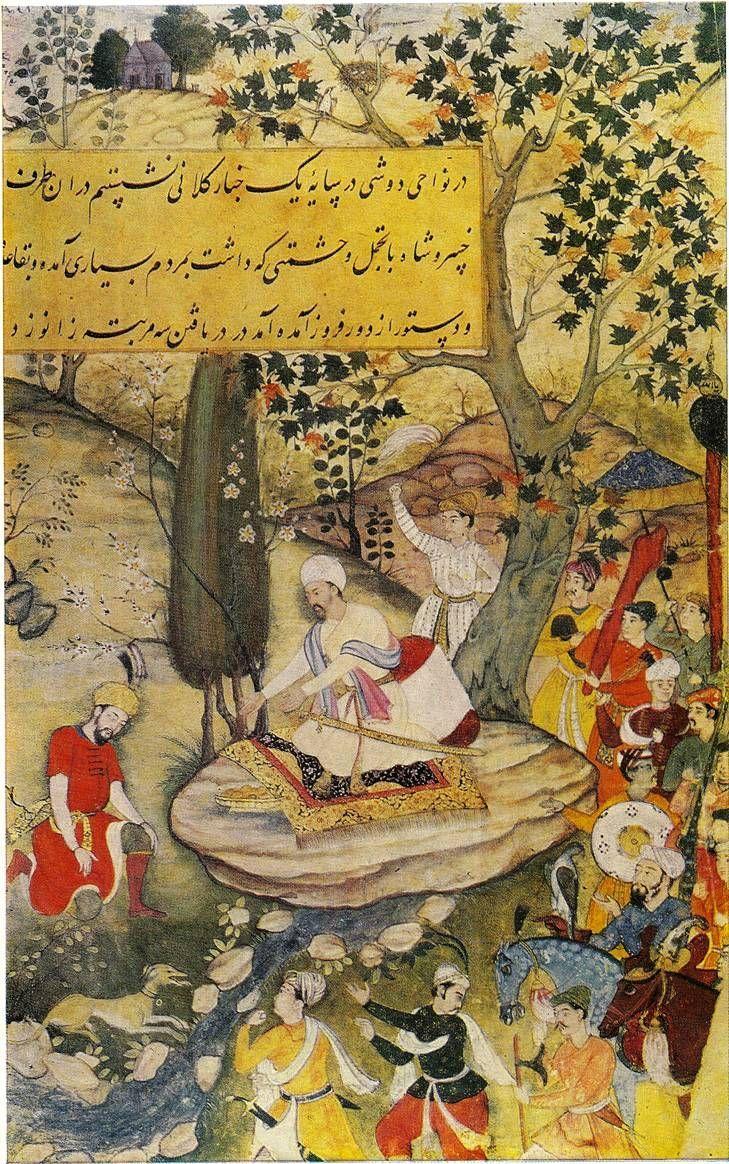 mughal babur | Khusrau Shah swearing fealty to Babur, Mughal miniature