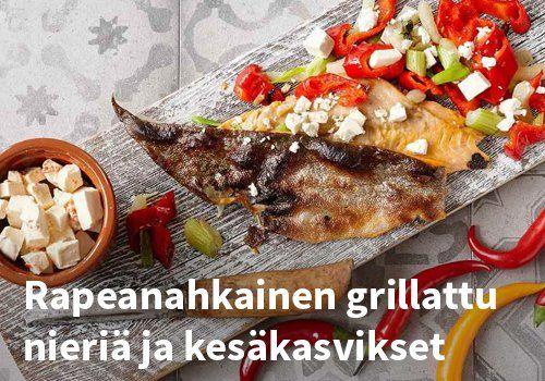 Rapeanahkainen grillattu nieriä ja kesäkasvikset, Resepti: Valio #kauppahalli24 #nieirä #grilliruoka #kasvikset