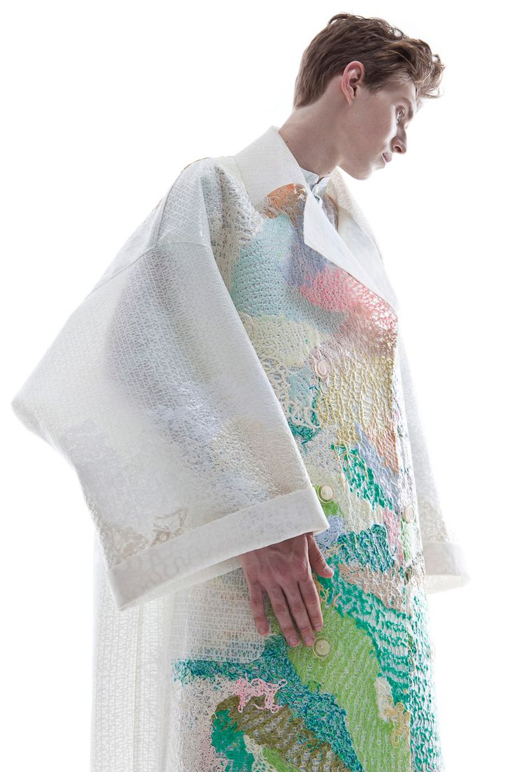 KA WA KEY Spring Summer 2016 London Collections: MEN Experimental sensuous romantic textile on Menswear / Womenswear / Knitwear as an east-meet-west impressionism painting Knit Latex Coat  see more at: http://kawakey.com