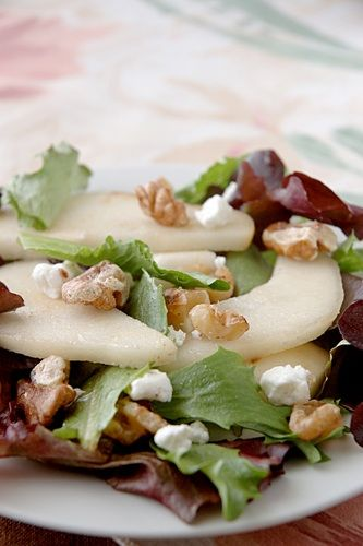 kosher recipe - Pear, Grape, Mesclun and Feta Salad recipe plus Betty's Bridal Shower   Kosher Recipes and Jewish Table Settings