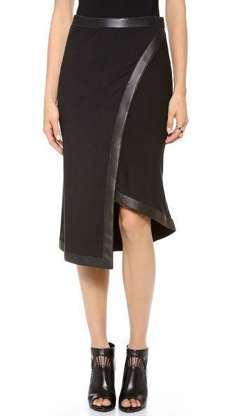 donna karan new york wrap skirt with leather trim my