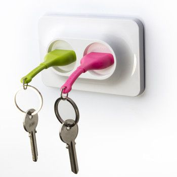 Wieszak na klucze Unplug Key Ring, zielony/różowy | Bonami
