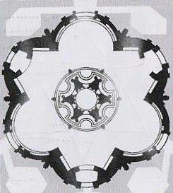 Pianta della chiesa con evidenza dei due triangoli equilateri, i 12 angoli di 30 gradi al centro della chiesa, il cerchio centrale che delimita le pareti concave e convesse.