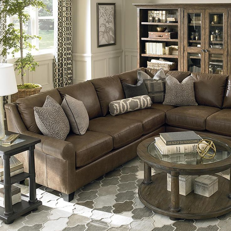 leather living room with sectional ideas American Casual Ellery Large L-Shaped Sectional in 2019