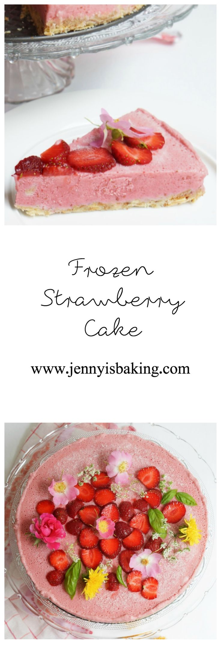 Strawberry Cake, no bake, gluten free and done in 15 minutes./Erdbeerkuchen, ohne backen und in 15 Minuten gemacht