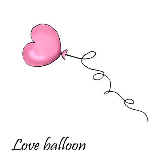 fake tattoo heart balloon love tattoo by SharonHArtDesigns on Etsy