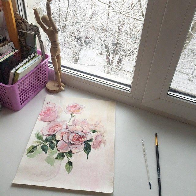 Зима в апреле ❄️❄️❄️ за окном все белым бело  #акварель #watercolor #prokhorovaart