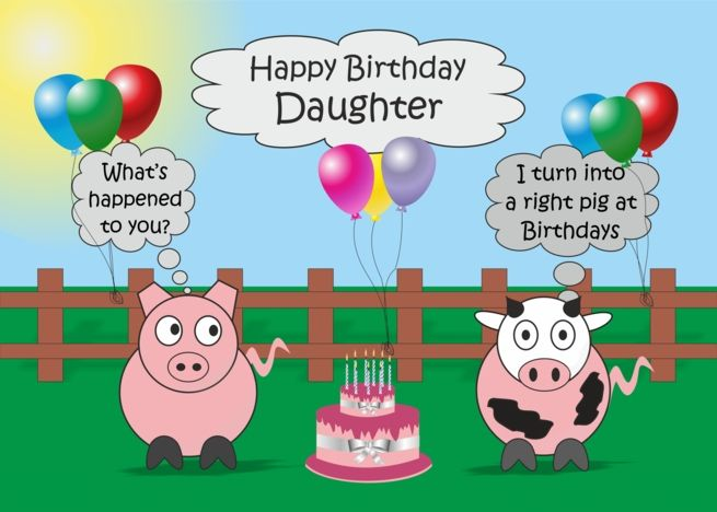 Daughter Humor Birthday Card Funny Farm Animals Rudy Pig Moody