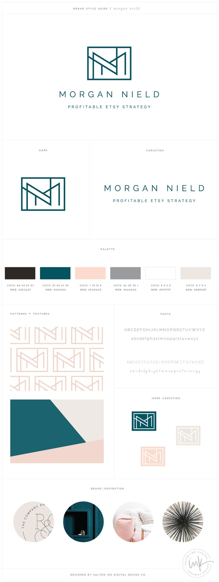 Minimalist + modern geometric logo design for morgannield.com by SaltedInk. Blush pink, mood blue, and neutrals