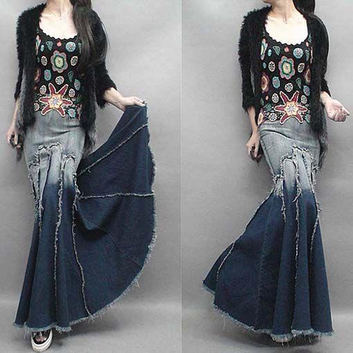 2015 moda gradiente borla Patchwork expansão inferior Denim saia jeans fino Hip rabo de peixe saia de comprimento saia jeans