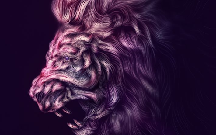Download wallpapers lion, art, purple background, creative