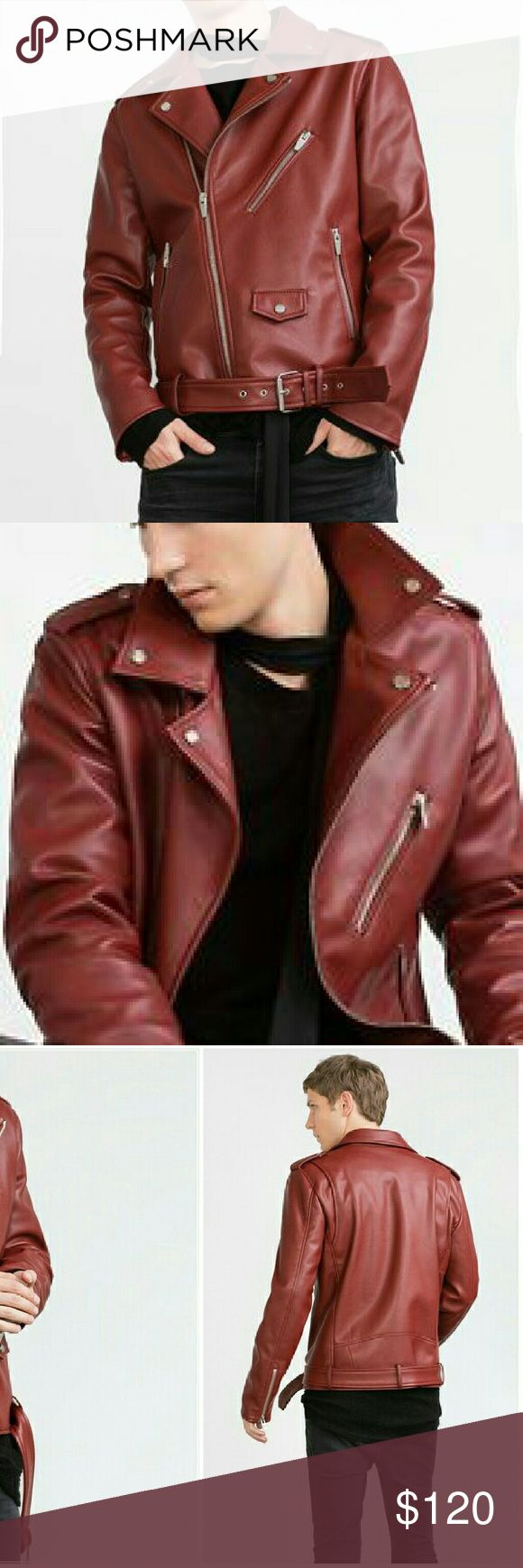 Nwt ZARA men's red faux leather moto jacket small New with tags Zara men's faux leather motorcycle jacket. Amazing quality. Size small Zara Jackets & Coats Bomber & Varsity