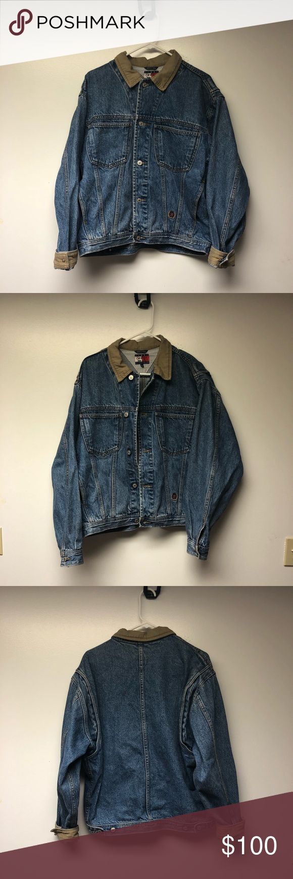 Vintage Tommy Hilfiger Denim Jacket Super rare tommy denim! Features a khaki collar, when the sleeves are rolled they're khaki as well, and features the Tommy crest logo towards the bottom. This Jacket is super hard to find in a size medium I'm open to reasonable offers and can put measurements up later. The only sign on condition is on the sleeves but adds to the vintage look. Tommy Hilfiger Jackets & Coats Bomber & Varsity