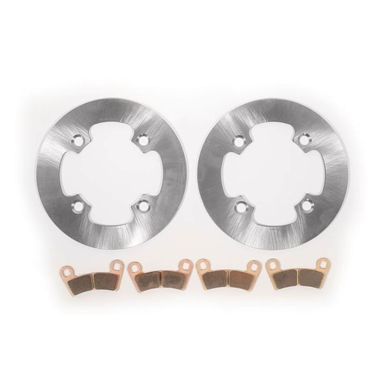 2014 - 2017 Polaris RZR 570 - Front MudRat Rotors and Severe Duty Brake Pads, Silver stainless steel