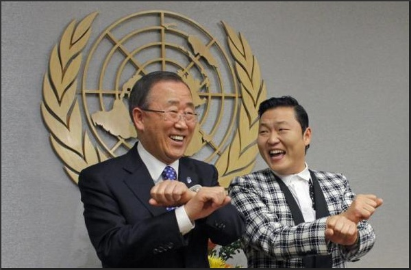 "Psy practises some ""Gangnam Style"" dance steps with U.N. Secretary-General Ban Ki-moon"