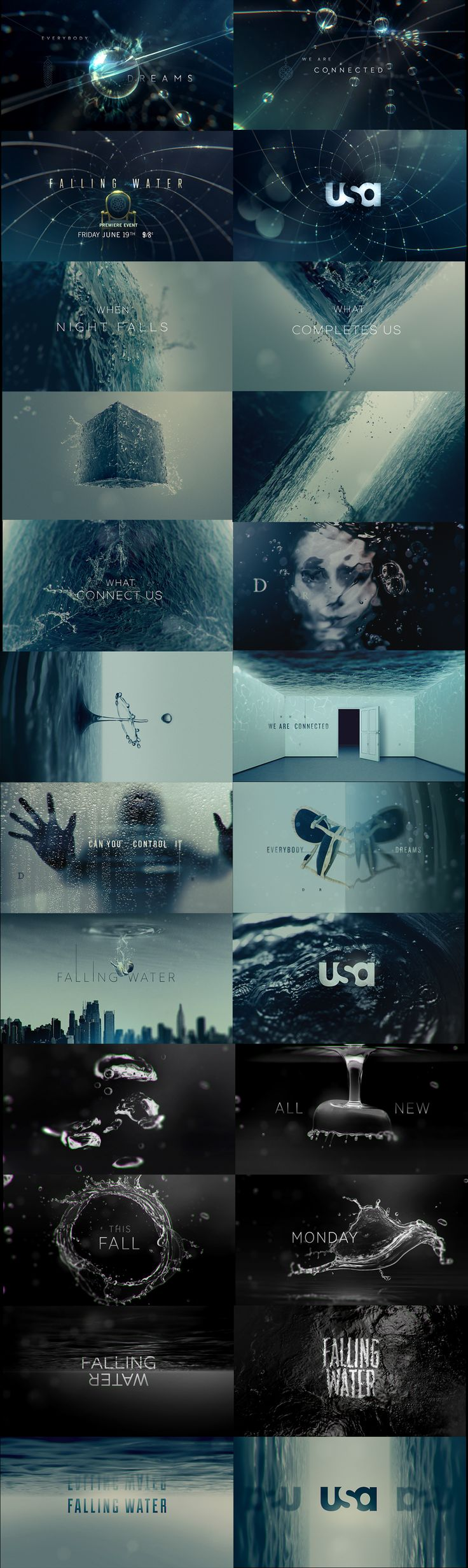 motion graphics/ storyboards/ styleframes | Falling Water — PROMO CONCEPTS for the USA TV Show