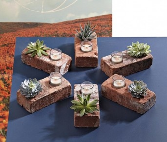 Recycled crafts: Idea, Candles Holders, Teas Lights, Plants, Old Brick, Centerpieces, Patio Tables, Brick Planters, Succulent Planters