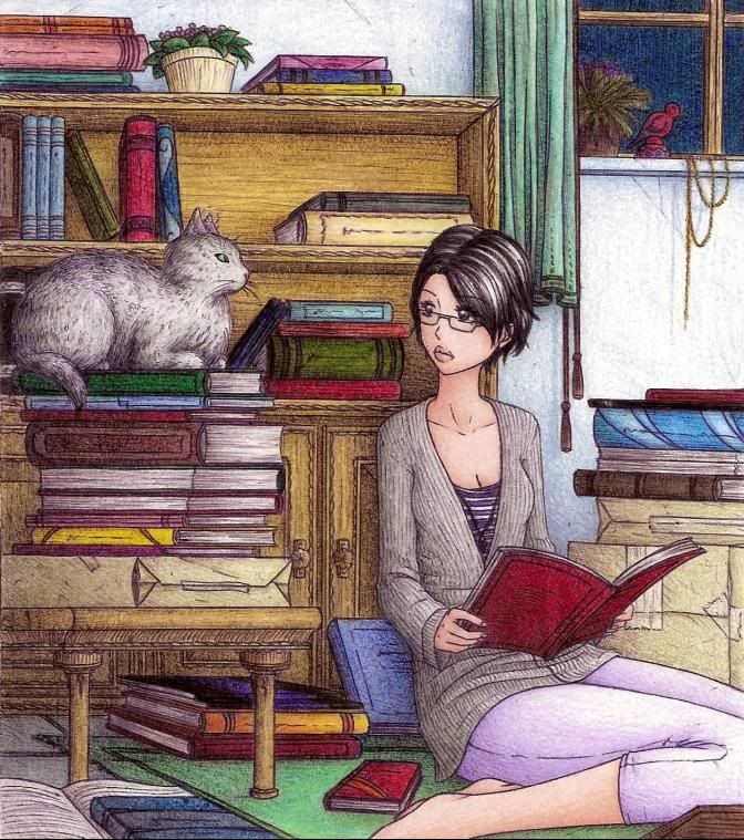 Woman reading as cat sits on stack of books. Illustration made by Dani - illustration reading - Pesquisa Google