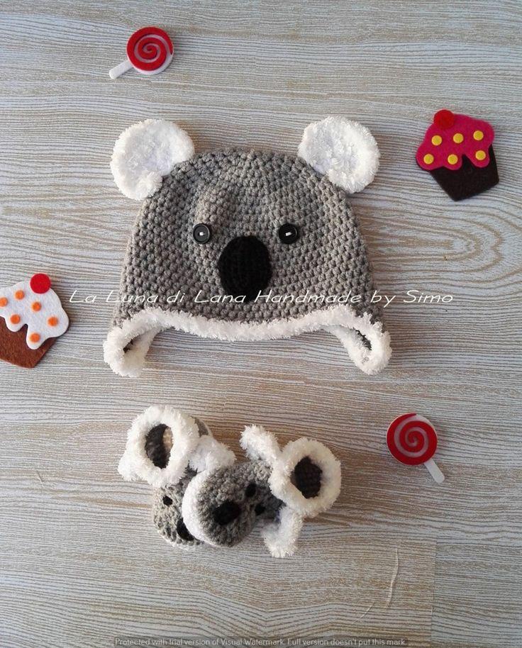 Cappellino con orecchie e scarpine per neonato a forma di koala di LaLunadiLanaHandmade su Etsy