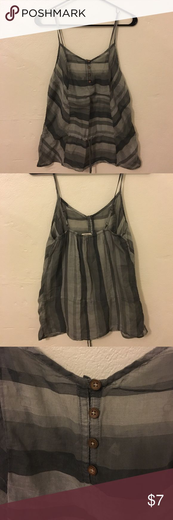 Lightweight, striped tank 🎉 Different tones of grey striped tank.  Cinched waist determined by belt. Button bust. Adjustable straps Old Navy Tops Tank Tops