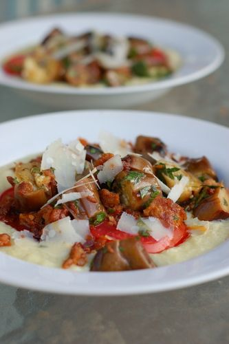 SWEET CORN POLENTA WITH SUMMER VEGETABLES AND ITALIAN SAUSAGE