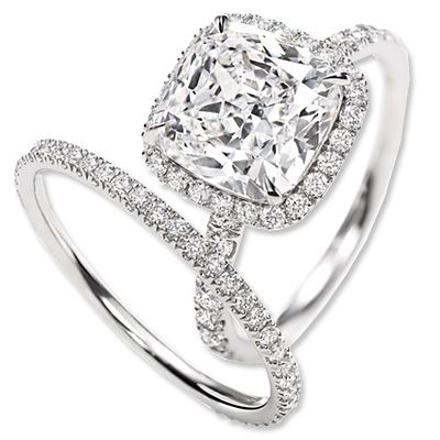Harry Winston Cushion Cut Diamond Engagement Ring and Band harrywinston.com