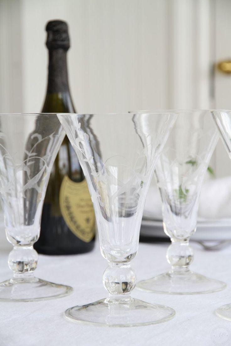 Handgraverat vinglas/champagneglas