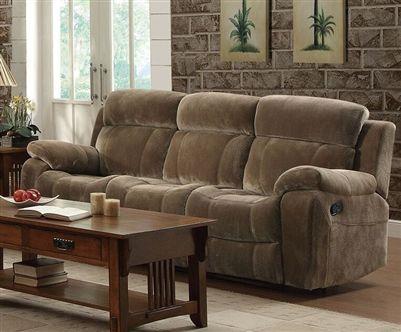myleene reclining sofa in mocha fabric upholstery by coaster rh pinterest com