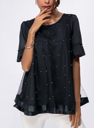 Polka Dot Elegant Chiffon Round Neckline Short Sleeve Blouses (1050554) @ floryday.com