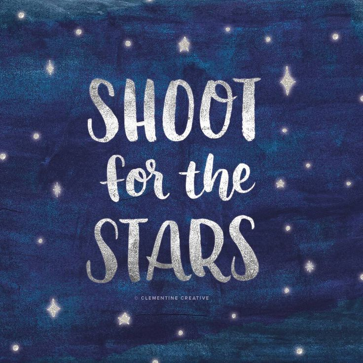 Shoot for the stars - brush lettering by Clementine_Creative.  Materials used: Pentel Aquash Water Brush in medium. Watercolour textures and lettering were scanned and special effects were added in Photoshop.