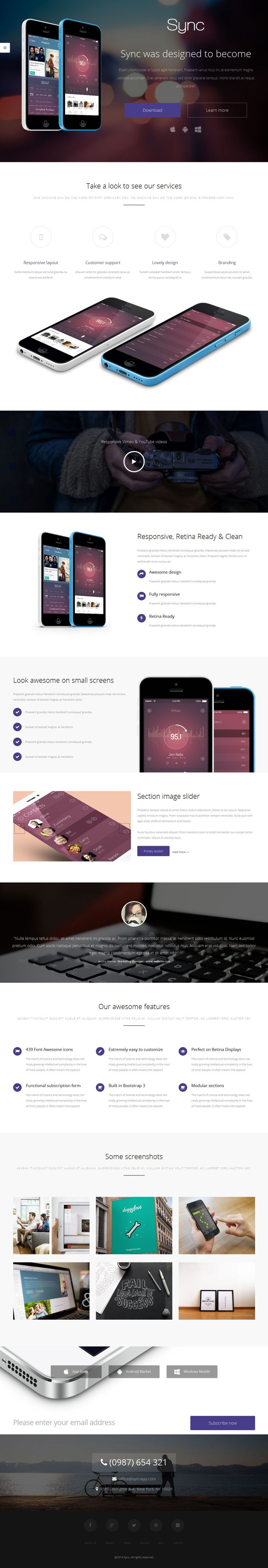 Sync - Responsive Landing Page Template | Buy and Download: http://themeforest.net/item/sync-responsive-landing-page/7863875?WT.ac=category_thumb&WT.z_author=creativemyway&ref=ksioks