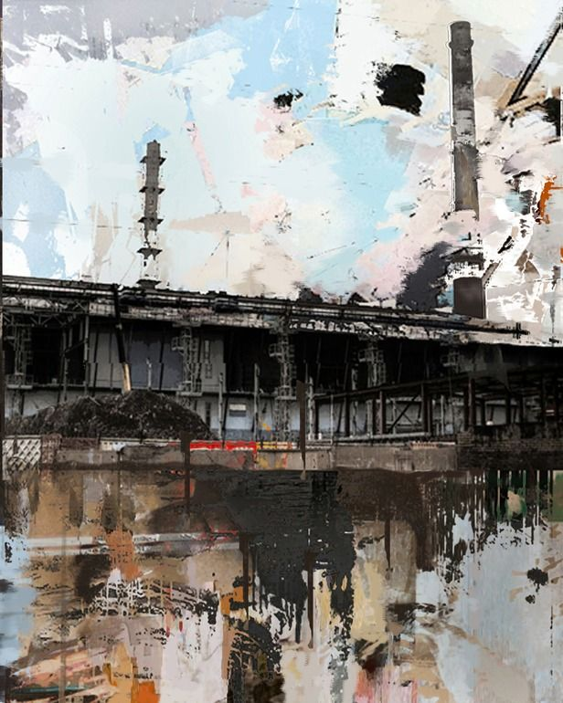 "Saatchi Online Artist: Serj Fedulov; Mixed Media, Painting ""From the series Urban Landscapes"""