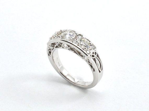 Filigree  ring Diamond ring Classical diamond ring by RareEarthDS