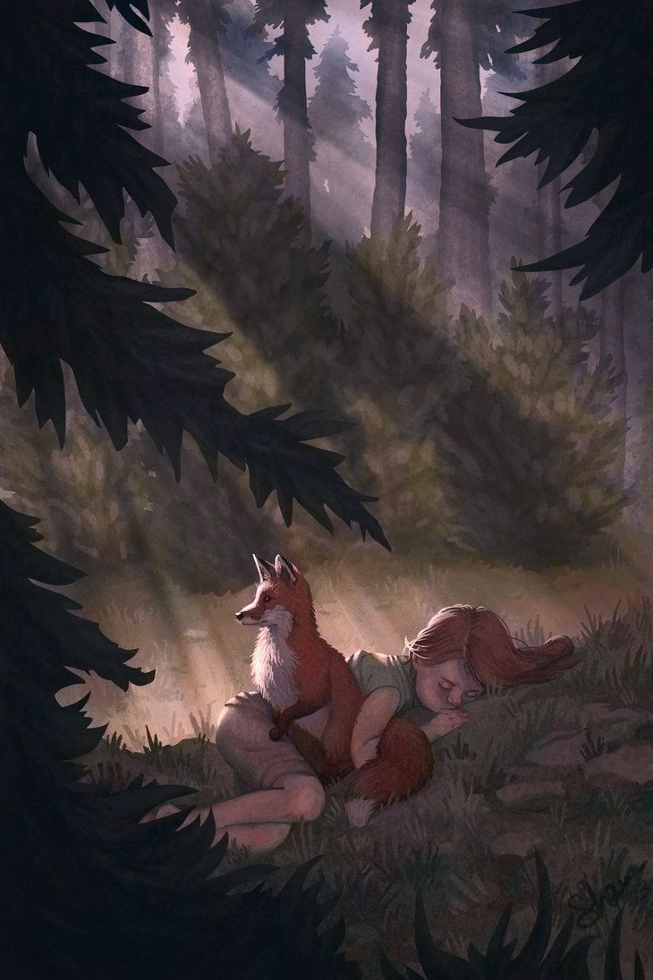 """I wake up to hear the crunching of leaves. I sit up, the fox standing in front of me 'hello?"""" I call (open rp. no power or fandoms. art by nonnahs144 on deviantART)"""" ))"""