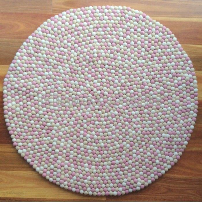 FELT BALL RUGS : Peach Pink Colour Mix Nursery Decor Felt Ball Rug | Mimosa  Crafts