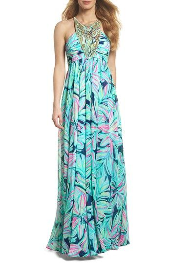 d28b5ebaeb274a Free shipping and returns on Lilly Pulitzer® Lannette Embellished Chiffon  Maxi Dress at Nordstrom.com. Glittering embellished embroidery adorns the  ...