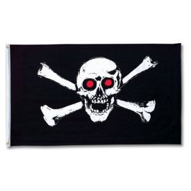 This 3' x 5' skull and crossbones flag would make the perfect decoration for any pirate fans bedroom. It is made from 100% polyester and has flying grommets on the side, so that you can easily attach it to your flag pole. This flag features a menacing looking skull and crossbones design that would make a great Halloween party decoration. https://www.purepirate.com/skull--crossbones-flag