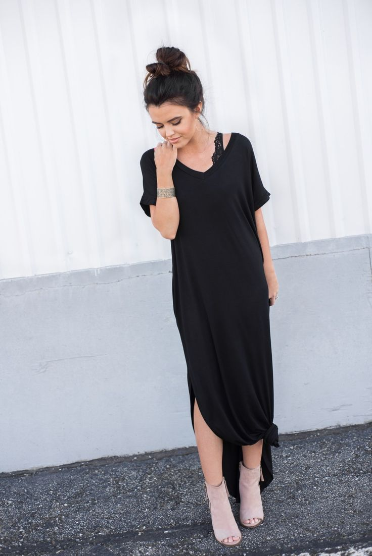 Black dress maxi - Casual Knotted Maxi Dress