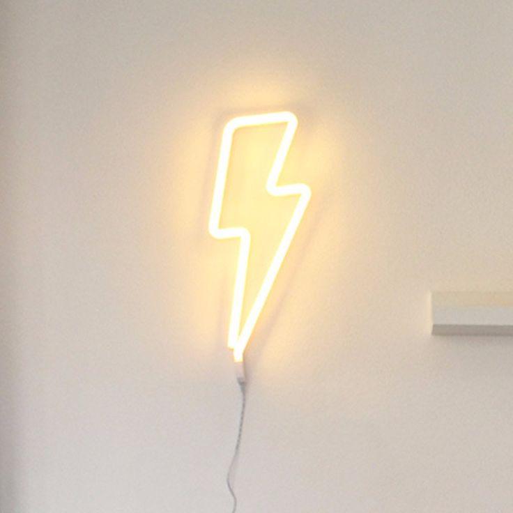 A Little Lovely Company Yellow Neon Lightning Bolt Light